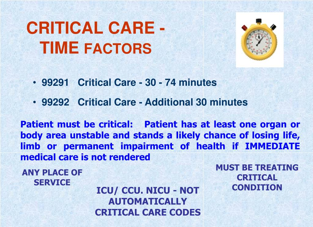 CRITICAL CARE - TIME