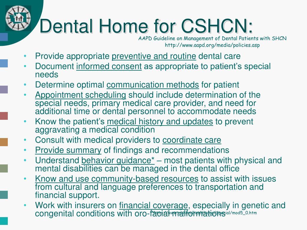 Dental Home for CSHCN:
