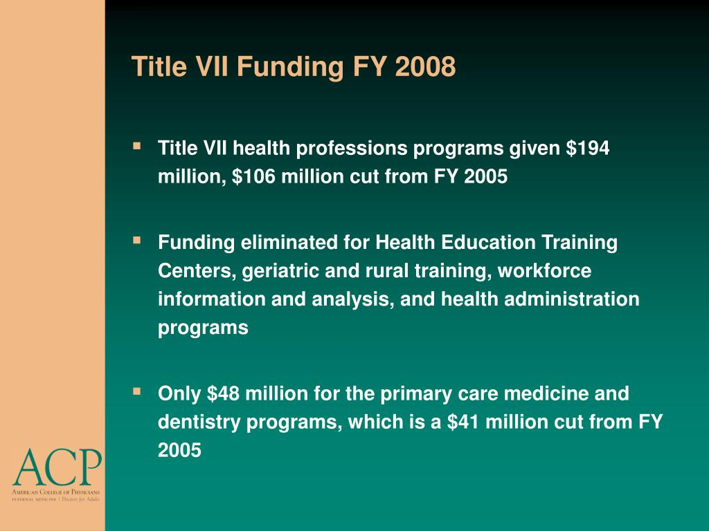 Title VII Funding FY 2008