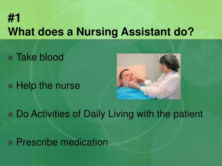 1 what does a nursing assistant do
