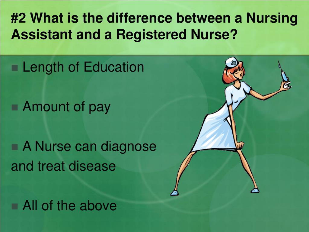 #2 What is the difference between a Nursing Assistant and a Registered Nurse?