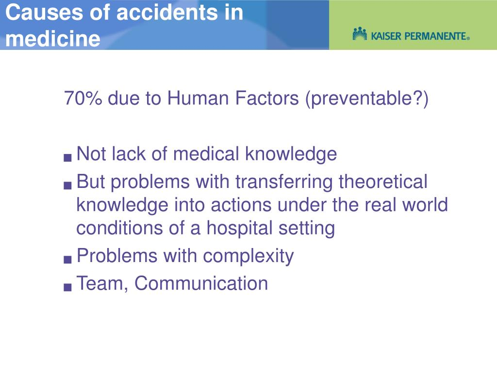 Causes of accidents in
