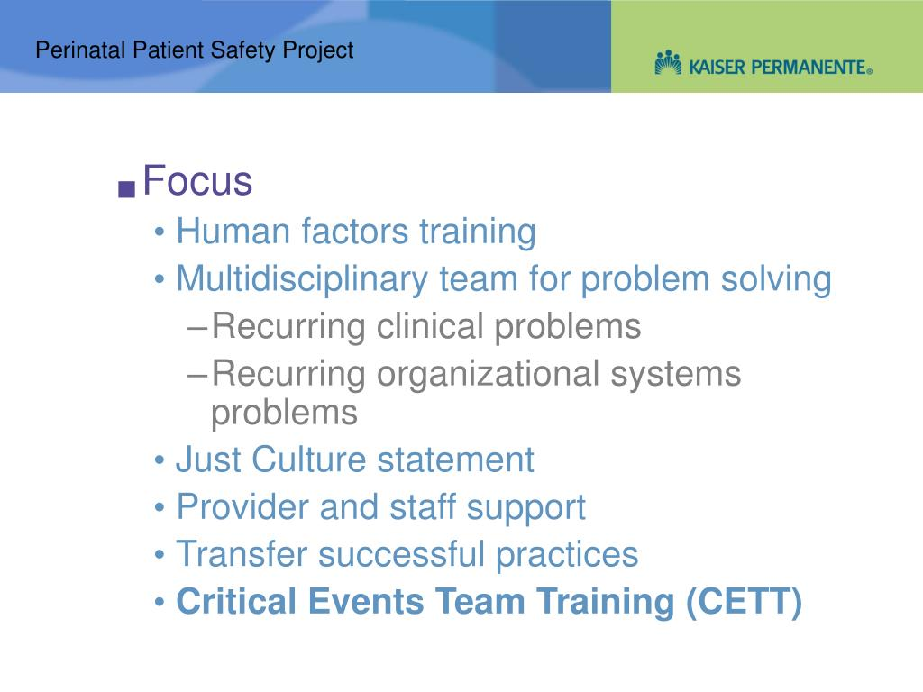 Perinatal Patient Safety Project
