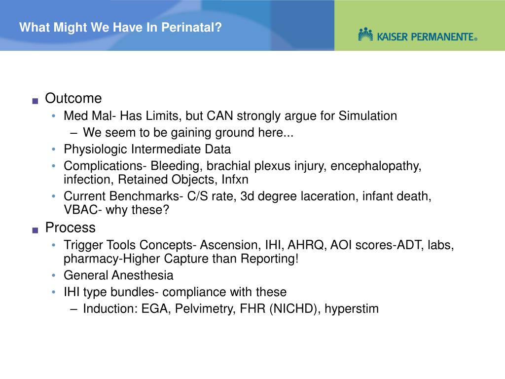 What Might We Have In Perinatal?