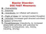 bipolar disorder dig fast mnemonic
