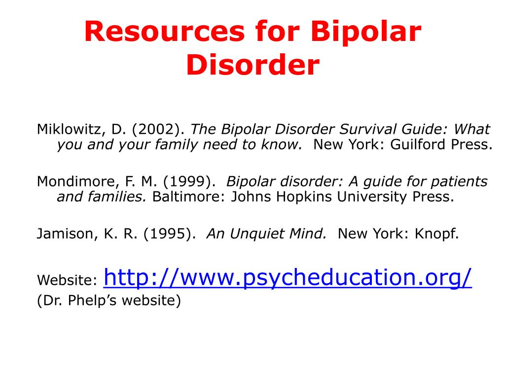 Resources for Bipolar Disorder