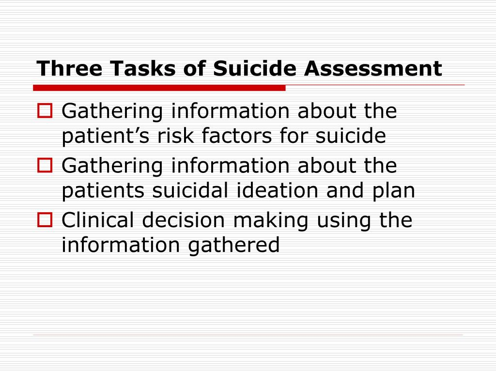 Three Tasks of Suicide Assessment