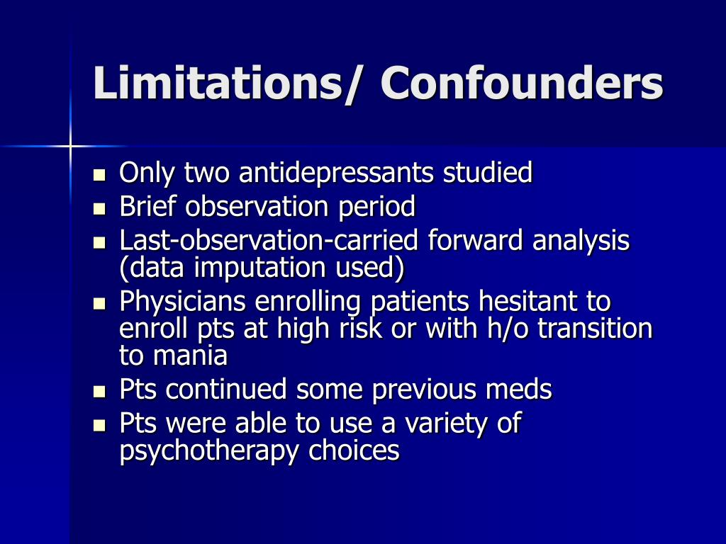 Limitations/ Confounders