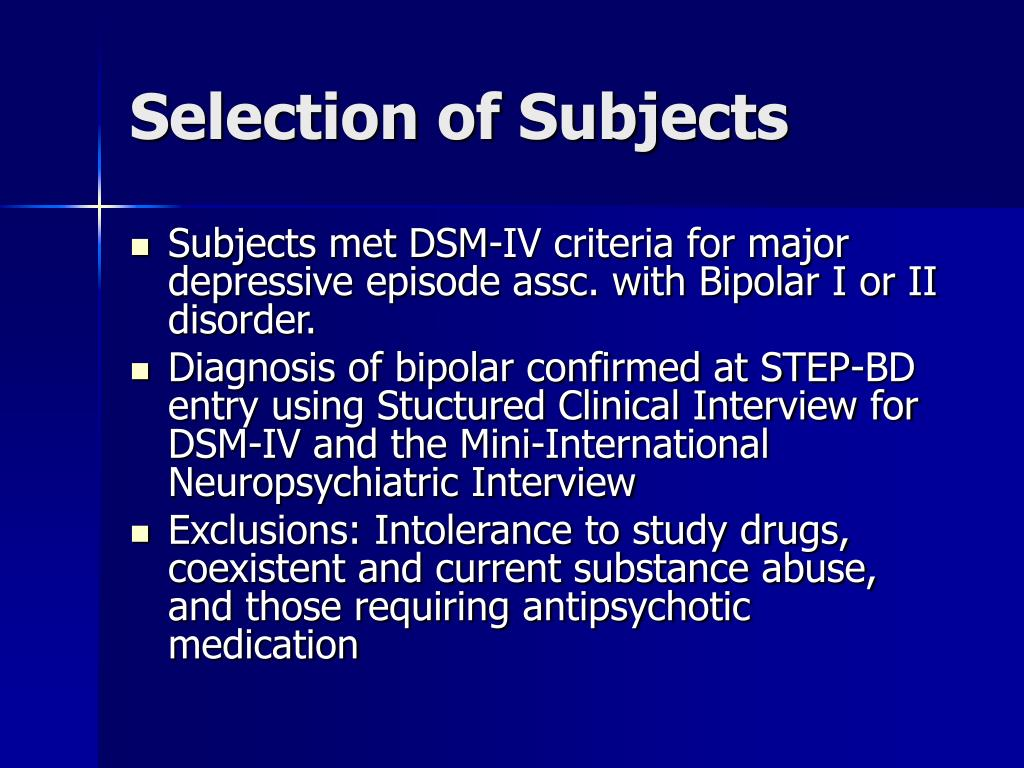 Selection of Subjects