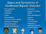 signs and symptoms of childhood bipolar disorder