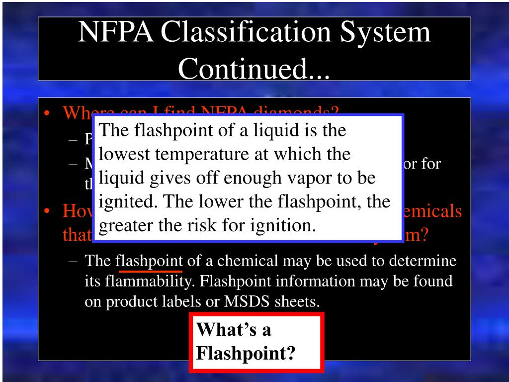 NFPA Classification System Continued...