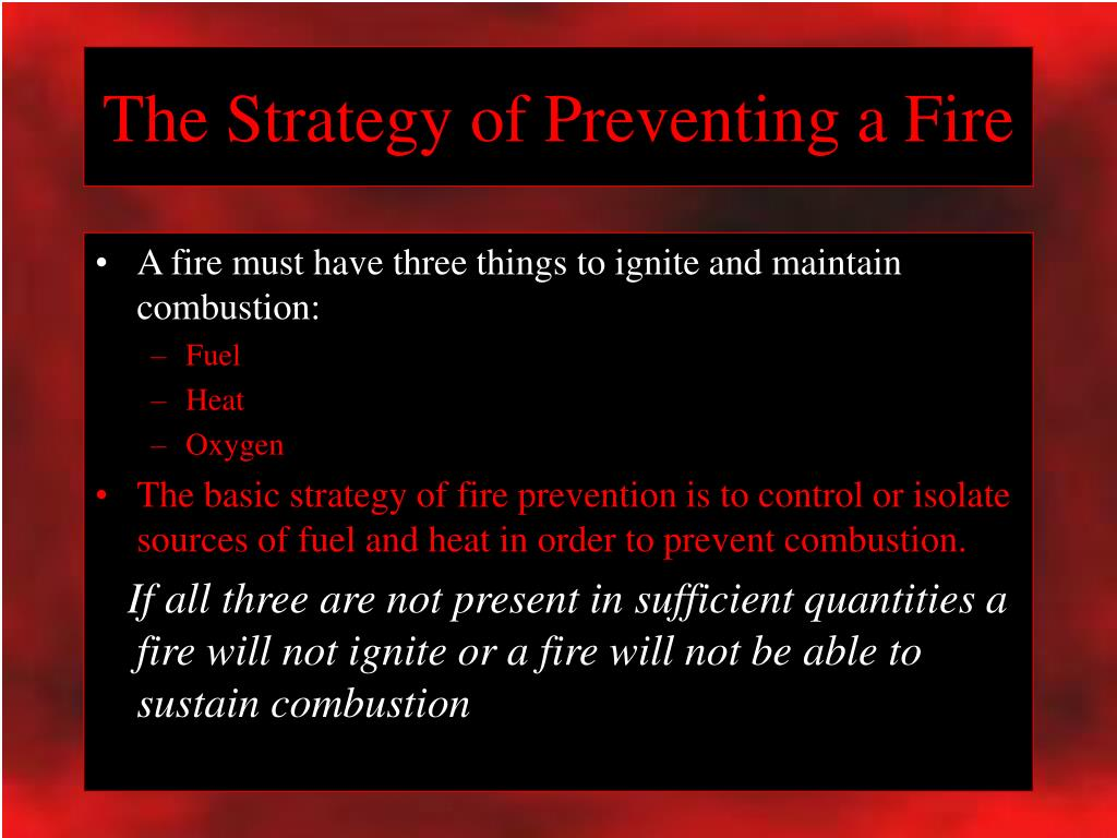 The Strategy of Preventing a Fire