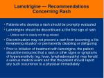 lamotrigine recommendations concerning rash
