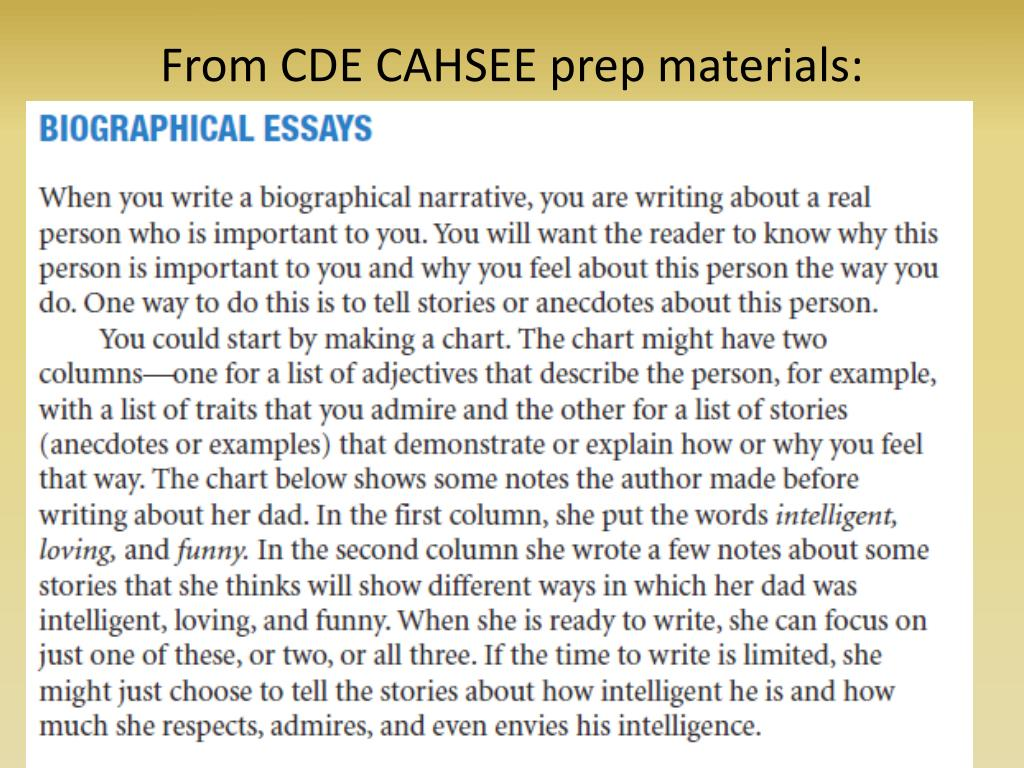 From CDE CAHSEE prep materials: