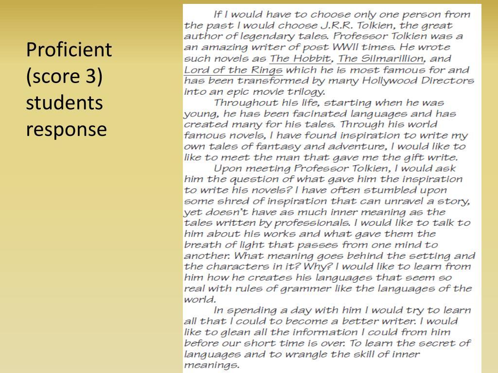 Proficient (score 3) students response