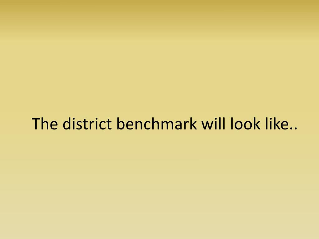 The district benchmark will look like..