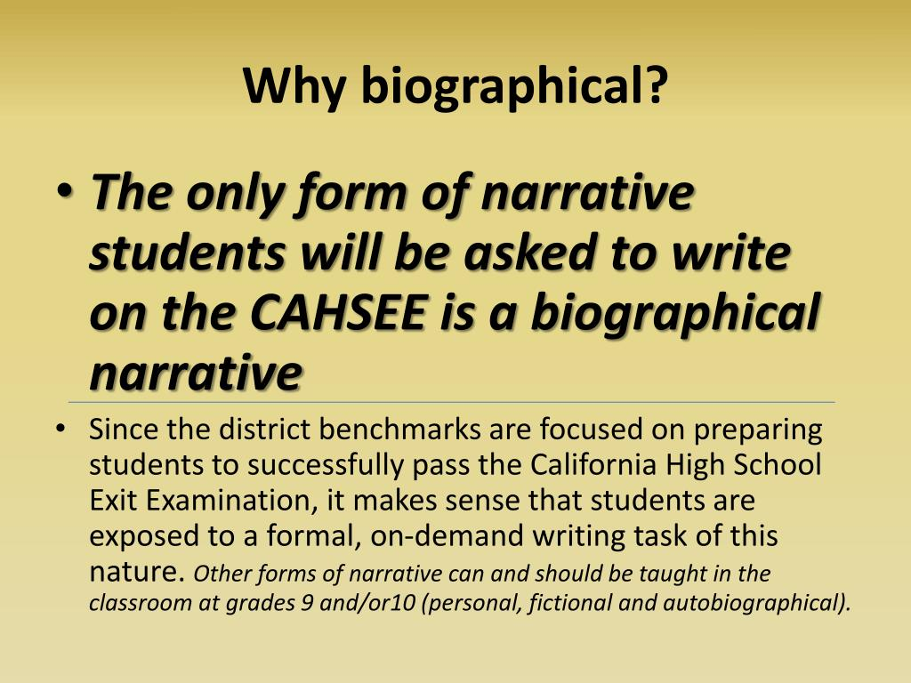 Why biographical?