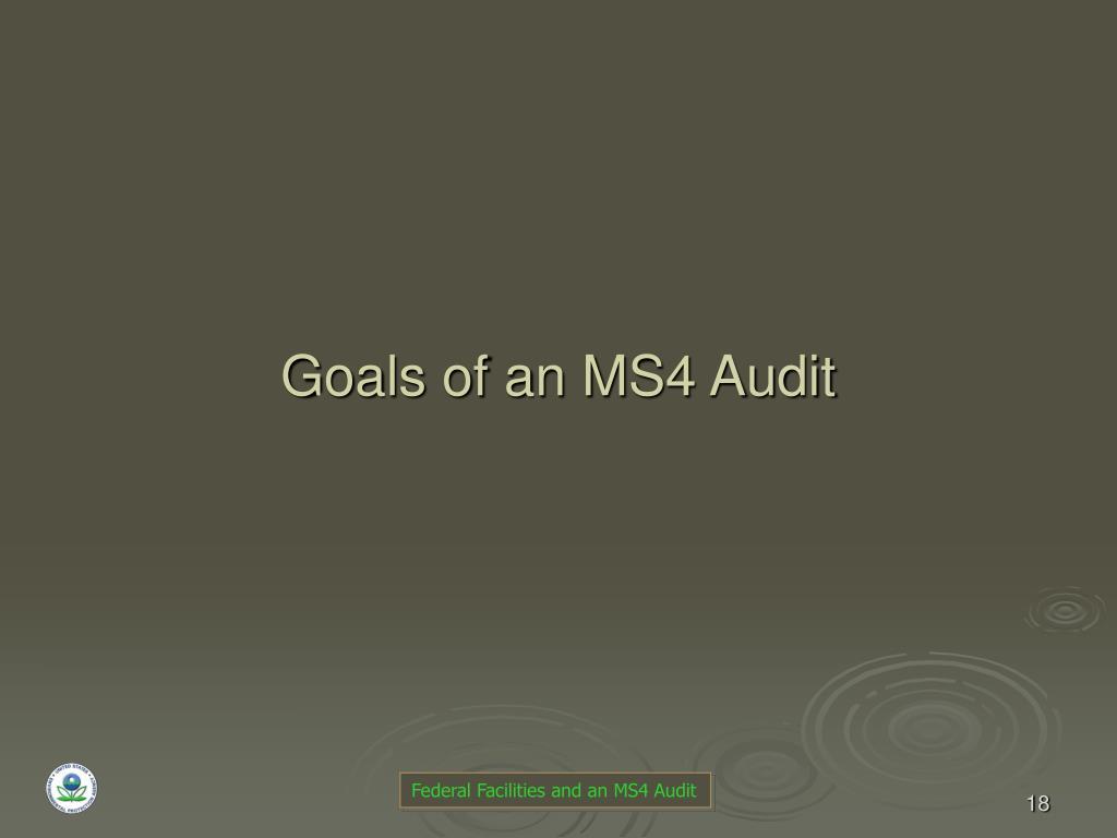 Goals of an MS4 Audit