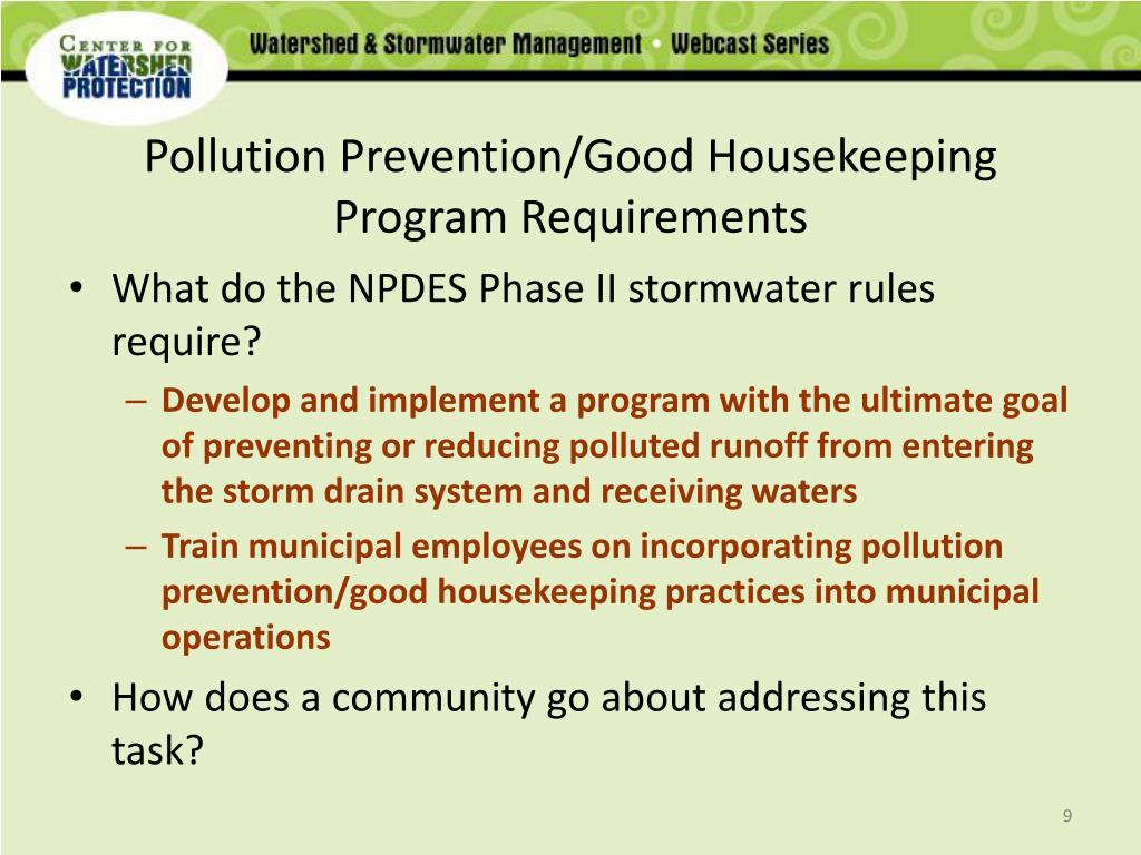 Pollution Prevention/Good Housekeeping Program Requirements