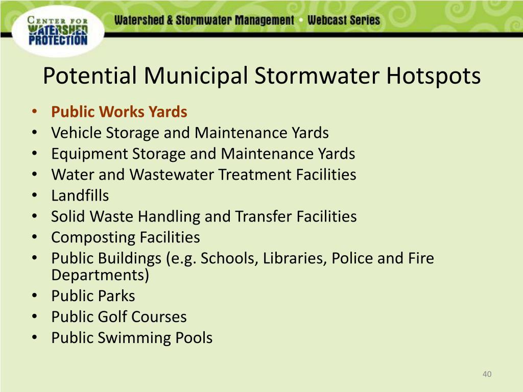 Potential Municipal Stormwater Hotspots