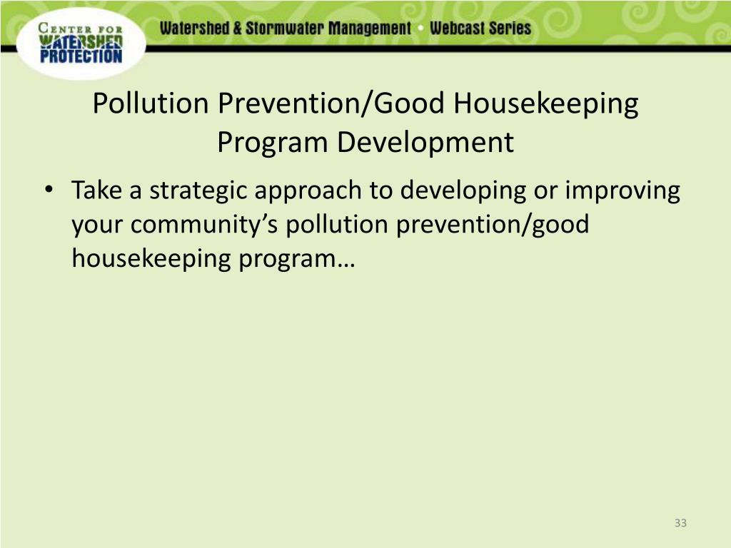 Pollution Prevention/Good Housekeeping Program Development