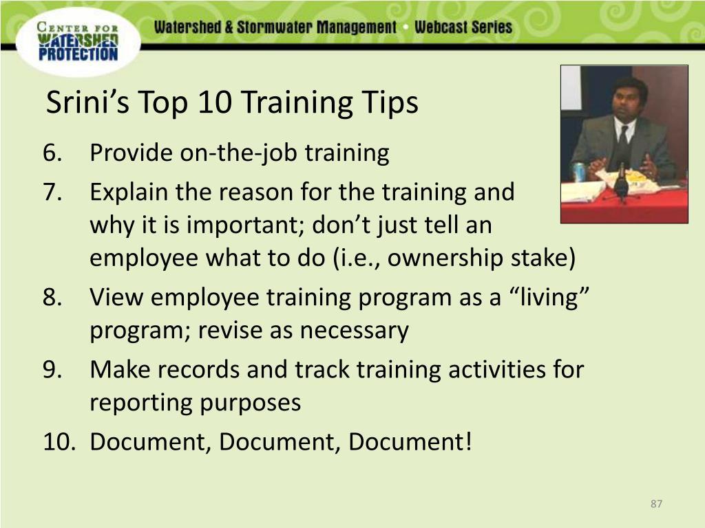 Srini's Top 10 Training Tips