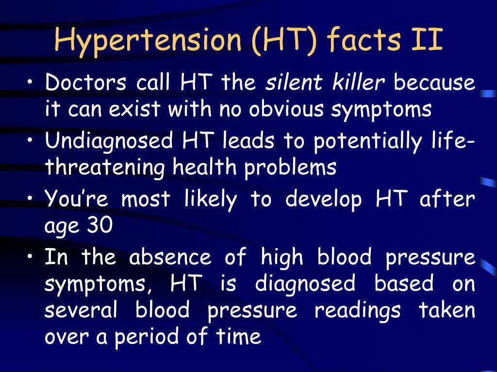 Hypertension (HT) facts II