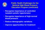 public health challenges for the national high blood pressure education program continued