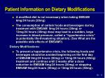 patient information on dietary modifications