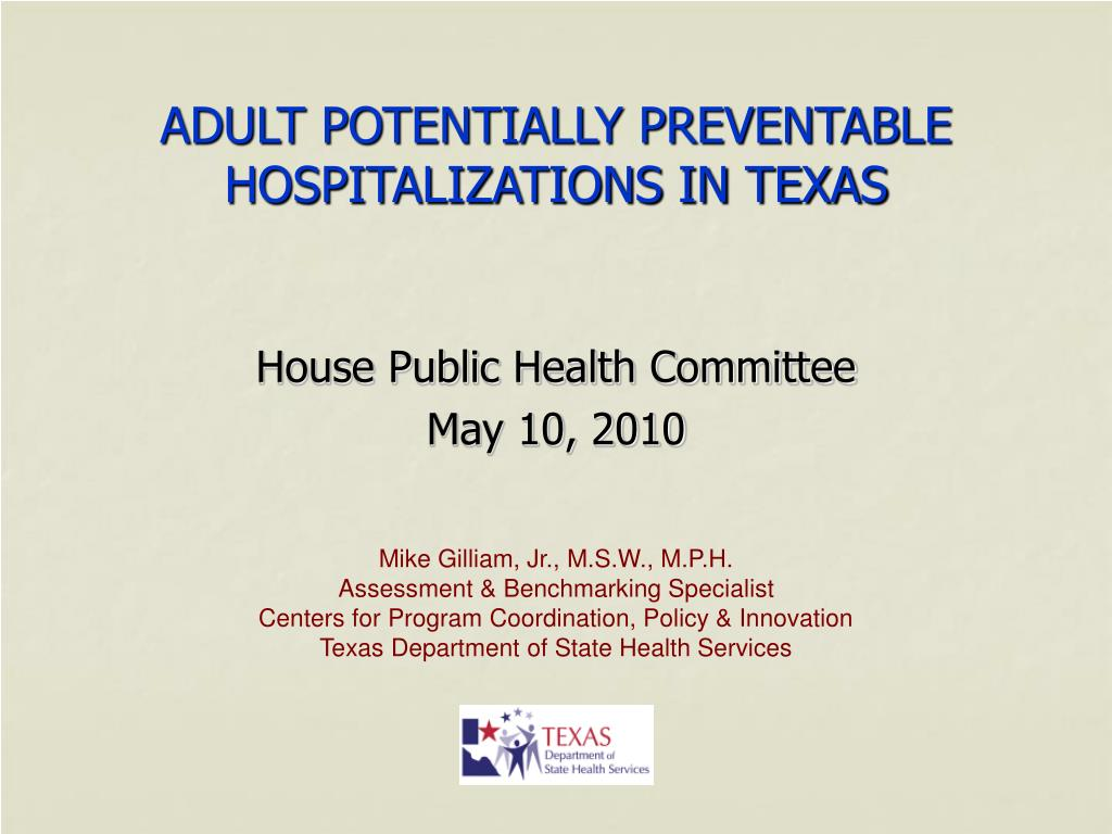 adult potentially preventable hospitalizations in texas l.