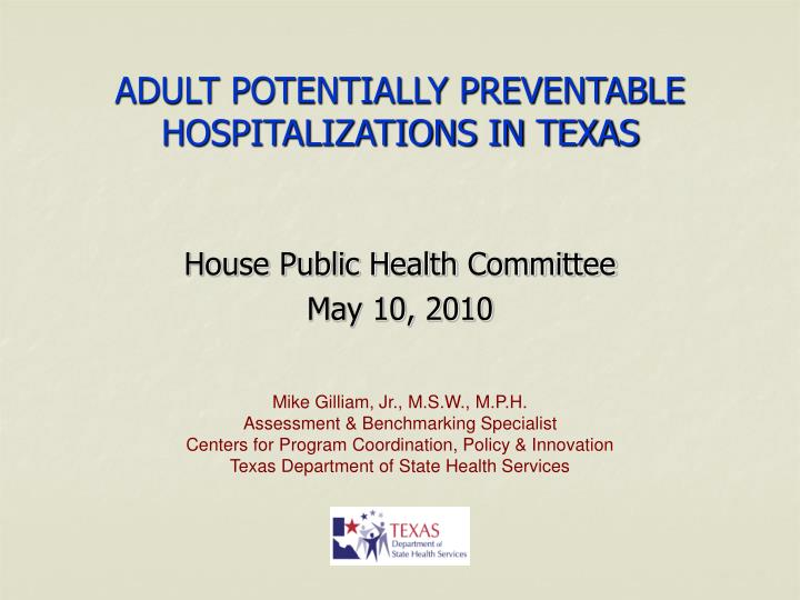 adult potentially preventable hospitalizations in texas n.