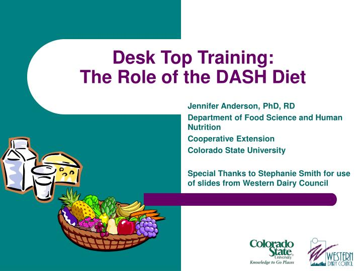 Desk top training the role of the dash diet