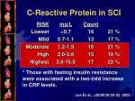 c reactive protein in sci