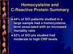 homocysteine and c reactive protein summary