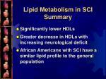 lipid metabolism in sci summary