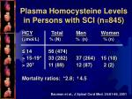 plasma homocysteine levels in persons with sci n 845