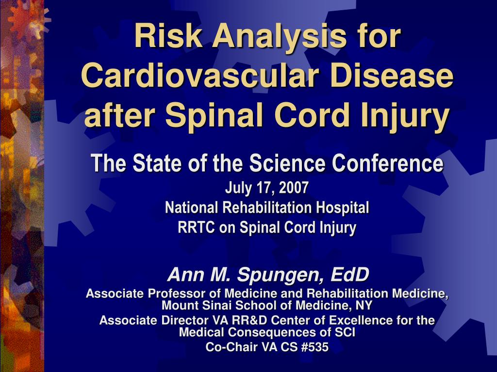 risk analysis for cardiovascular disease after spinal cord injury l.