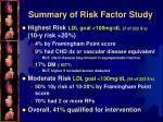 summary of risk factor study