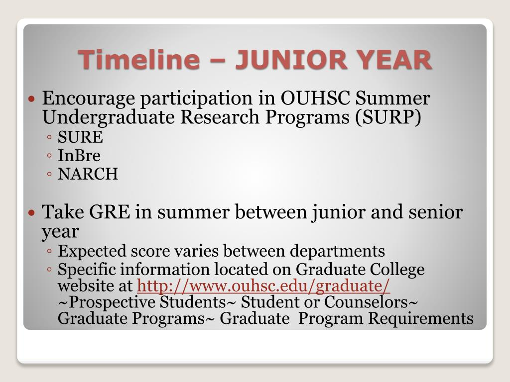 Encourage participation in OUHSC Summer Undergraduate Research Programs (SURP)