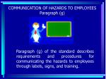 communication of hazards to employees paragraph g