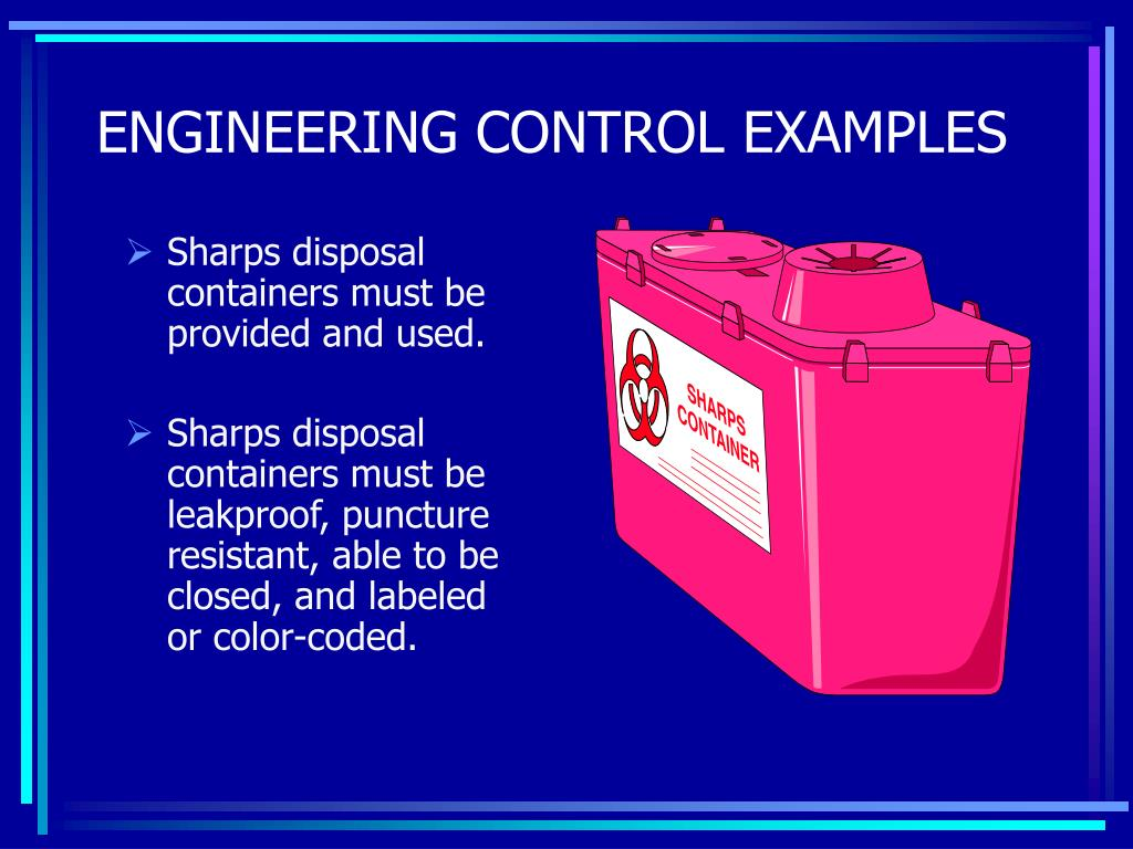 Sharps disposal containers must be provided and used.