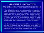hepatitis b vaccination titer and additional vaccination series continued84