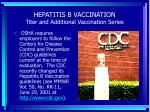 hepatitis b vaccination titer and additional vaccination series