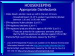 housekeeping appropriate disinfectants