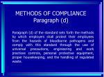 methods of compliance paragraph d