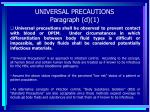 universal precautions paragraph d 1