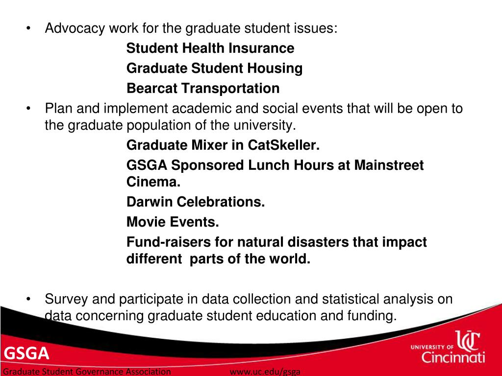 Advocacy work for the graduate student issues: