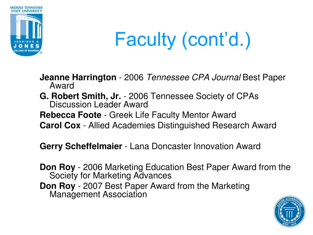 Faculty (cont'd.)