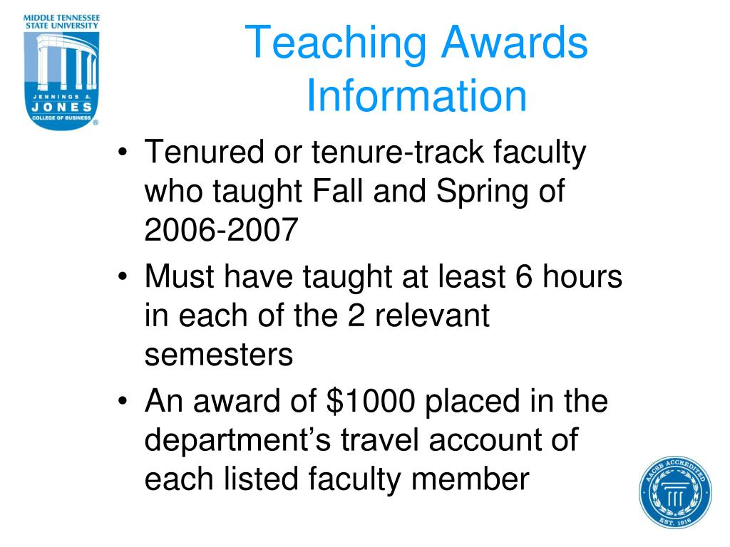Teaching Awards Information