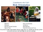 commitment to the craft risk orientation24
